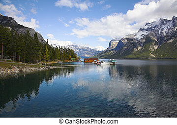 Boat station on picturesque lake