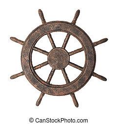 Boat steering wheel - Decorative fake antiqued boat steering...