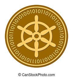 Boat Steering Wheel golden digital coin icon. gold yellow flat coin cryptocurrency symbol isolated on white. eps 10