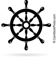 Boat steering wheel vector icon