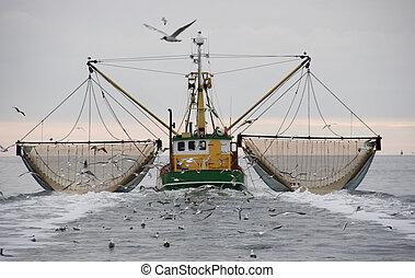 boat - fishing boat on the waddenzee, netherlands