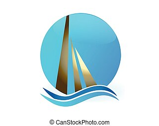 Boat sun and waves logo vector