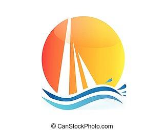 Boat sun and waves logo vector
