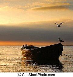 Boat, sunset