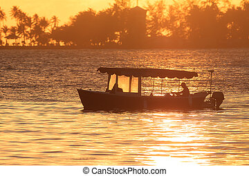 Boat sunset Puerto Rico