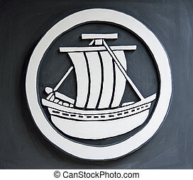 Boat symbol on the wall
