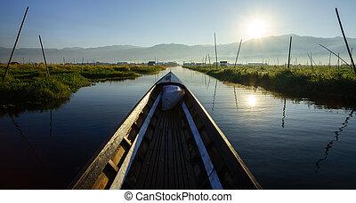 Boat to floating garden in Inle Lake, Myanmar (Burma)