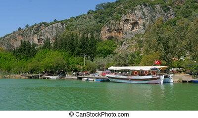 """boat tour river reeds, historical dalyan, ortaca, koycegiz, turkey"""