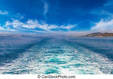 Boat trace in the sea