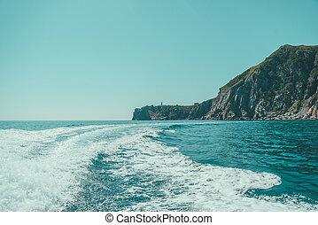 Boat trail in the sea