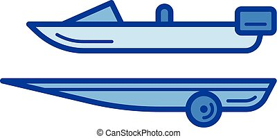 Boat trailer line icon.
