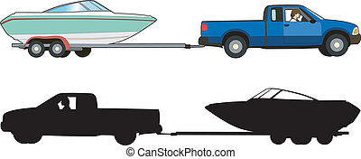 Boat trailer - Vector illustration of a means of transport,