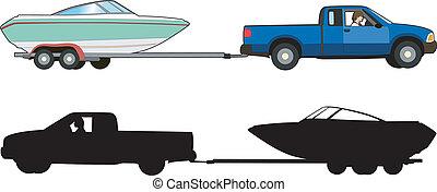 Boat trailer - Vector illustration of a means of transport,