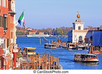 Boat Transportation at Punta della Dogana di Mare in Grand Canel Venice , Italy