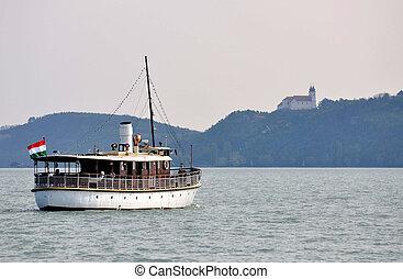Boat travel on the lake Balaton in Hungary