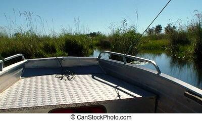 Boat trip canal okavango delta Bots - Boat trip through ...