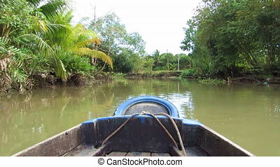 Boat trip in the Mekong delta, Vietnam, view from the boat
