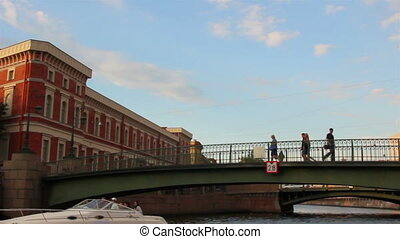 boat trip on canals of St. Petersburg - timelapse