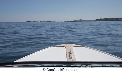 Boat trip on Lake Garda, in northern Italy. Crystal clear...
