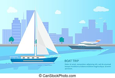 Boat Trip Promotional Poster with Modern Vessels