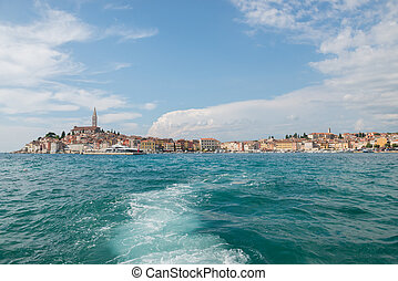 Boat trip Rovinj. View to the city.