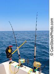 boat trolling fishing gear downrigger and two rods with...