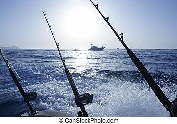 Boat trolling fishing on Mediterranean Ibiza Balearic...