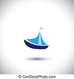 boat vector icon - fishing boat on blue ocean waters. This ...