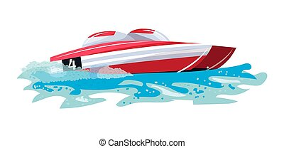 Boat vector speed motorboat yacht traveling in ocean illustration nautical set of summer vacation on motorized boat speedboat vessel transportation by sea waves isolated on white background