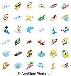 Boat vessel icons set, isometric style - Boat vessel icons...