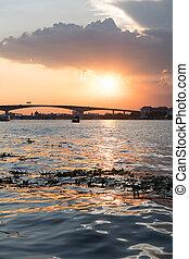Boat view from Chao Praya river on Bangkok