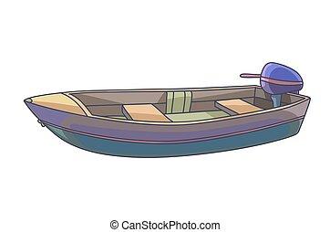 boat., vrijstaand, white., visserij