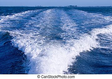 Boat wake - Wake behind boat underway