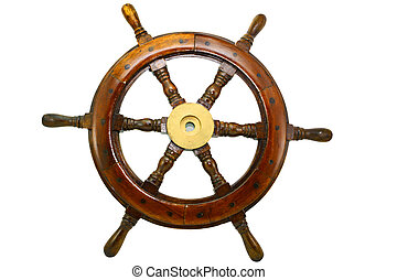 an old boat steering wheel on white background