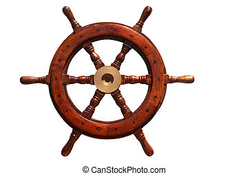 boat wheel - an old wooden boat wheel on white background