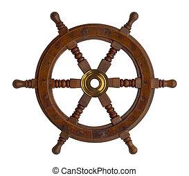 Boat Wheel - Wood Ship Wheel Isolated on White Background.