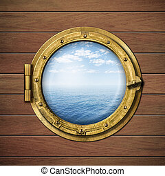boat window or porthole with sea or ocean horizon on wood...