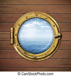 boat window or porthole with sea or ocean horizon on wood...