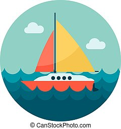 Boat with a Sail flat icon, vector illustration eps 10