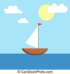 Boat with a sail, sea, sun and clouds.