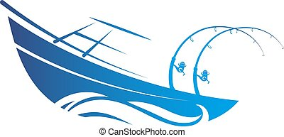 Boat with fishing rods silhouette
