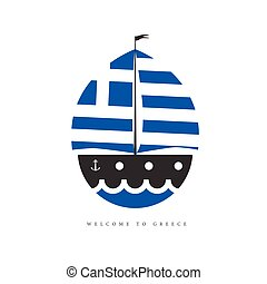 boat with greek flag illustration on white background