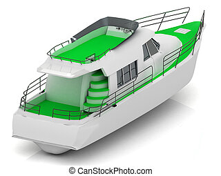 Boat with green walkways