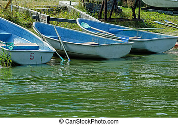 Boat with oars on the river bank