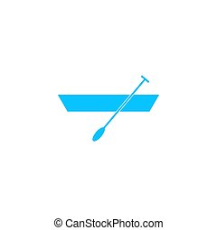 Boat with paddles icon flat.