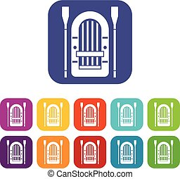 Boat with paddles icons set vector illustration in flat...