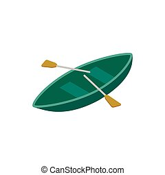 Boat with paddles isometric 3d icon