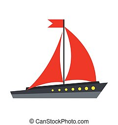 Boat with red sails icon, flat style