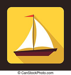 Boat with sails icon, flat style