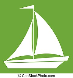 Boat with sails icon green